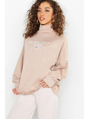 Boohoo Beverly Hills Roll Neck Oversized Slogan Sweat