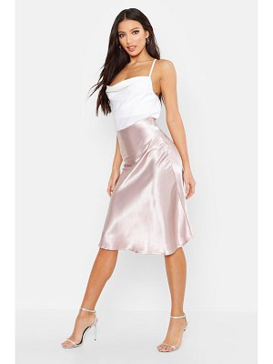 Boohoo Bias Satin Slip Midi Skirt