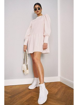 Boohoo Big Sleeve Peplum Cotton Shirt Dress