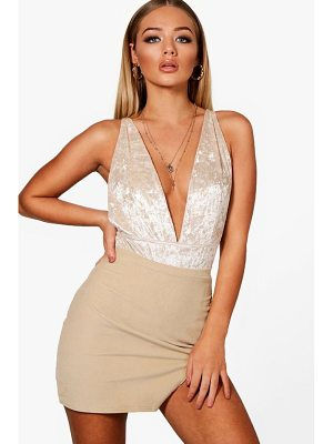 Boohoo Cord Notch Split Mini Skirt
