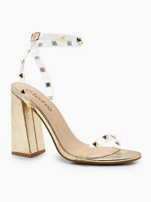 Boohoo Block Heel Metallic Stud and Clear Heels