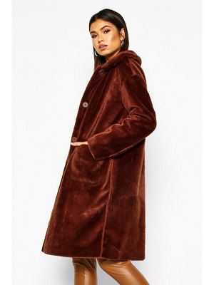 Boohoo Bonded Button Through Faux Fur Coat