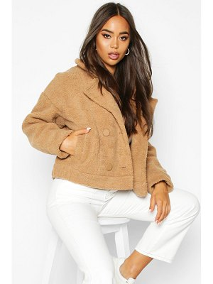 Boohoo Faux Suede Lined Teddy Faux Fur Biker Jacket