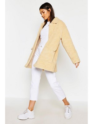 Boohoo Faux Suede Lined Teddy Faux Fur Coat