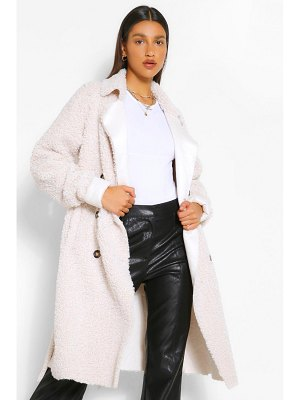 Boohoo Bonded Teddy Faux Fur Trench