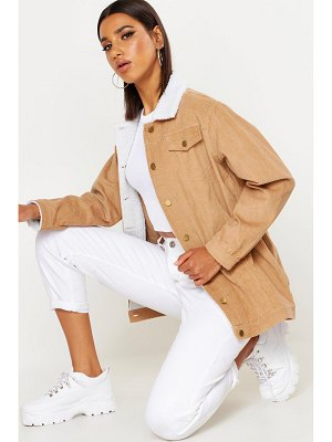 Boohoo Borg Long Line Cord Jacket
