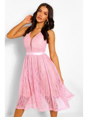 Boohoo Boutique All Lace Plunge Neck Midi Dress