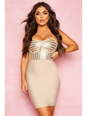 Boohoo Boutique Bandage Sequin Cupped Detail Mini Dress