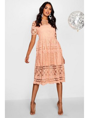 Boohoo Boutique Corded Lace Panelled Skater Dress