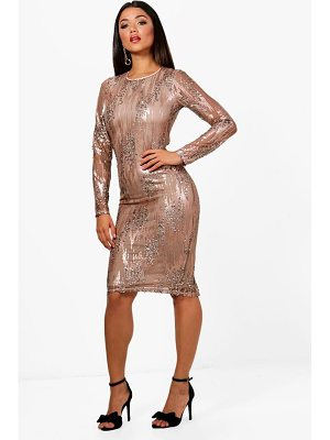 BOOHOO Boutique Dina Sequin Long Sleeve Midi Dress