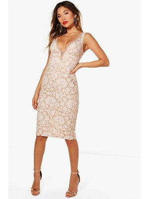 Boohoo Boutique Lace Off the Shoulder Midi Dress