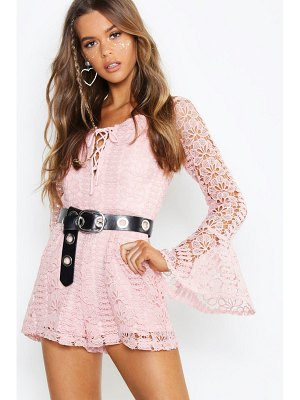 Boohoo Boutique Heavy Crochet Lace Up Romper