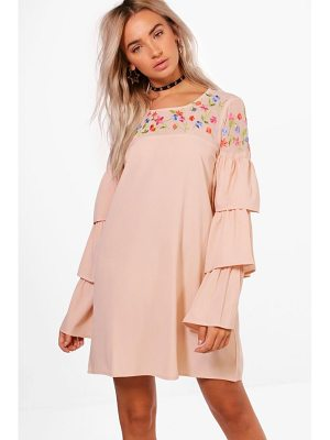 BOOHOO Boutique Izzy Embroidered Frill Sleeve Shift Dress