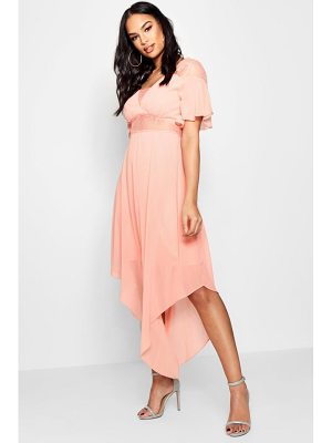 Boohoo Boutique Lace Insert Hanky Hem Dress