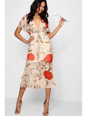 Boohoo Boutique Kira Tie Front Drop Hem Midi Dress