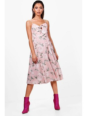 Boohoo Boutique  Knot Front Floral Midi Dress