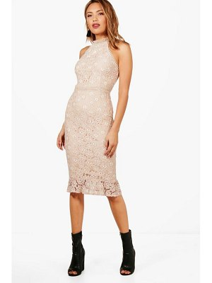 Boohoo Boutique Lace Frill Hem Midi Dress