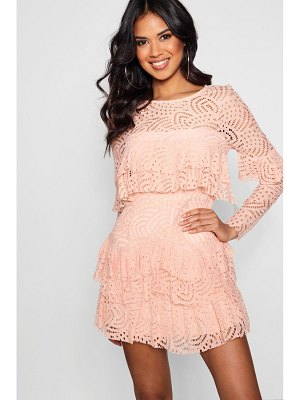 Boohoo Boutique Lace Ruffle Skater Dress