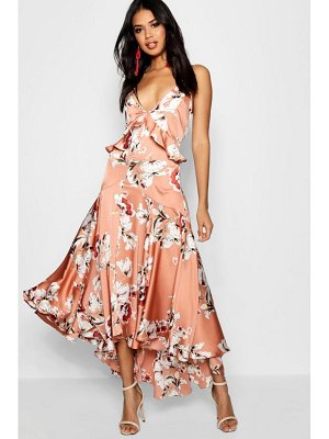 Boohoo Boutique Lo Floral Satin Ruffle Dip Hem Dress