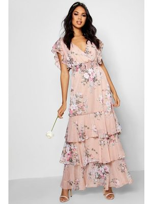 Boohoo Boutique Vintage Floral Ruffle Maxi Dress