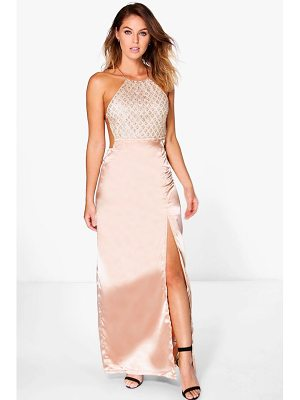 BOOHOO Boutique Mura Sequin Top Satin Maxi Dress