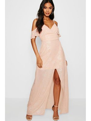 BOOHOO Boutique Sasha Metallic Wrap Maxi Dress