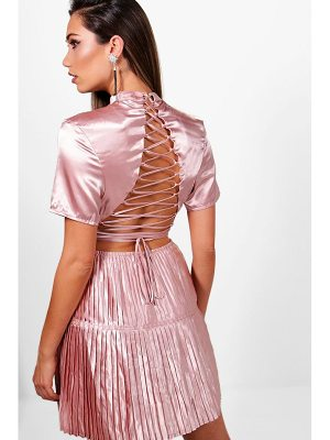 BOOHOO Boutique Satin Pleat  Back Skater Dress