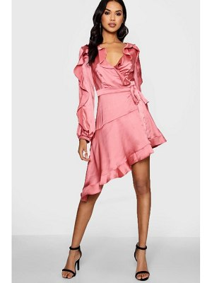 Boohoo Boutique Satin Ruffle Asymmetric Dress