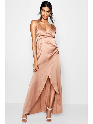 Boohoo Boutique Satin Wrap Maxi Dress