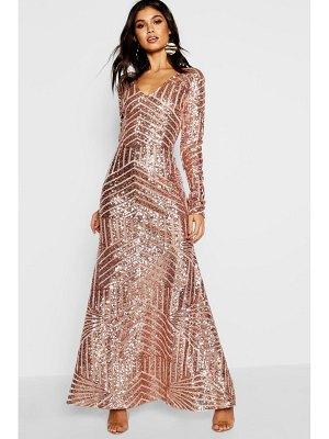 Boohoo Boutique Sequin & Mesh Maxi Dress