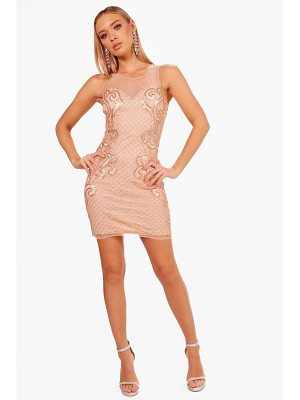 BOOHOO Boutique Tana Grid Embellished Bodycon Dress