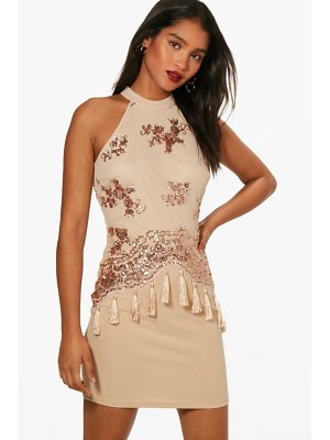 Boohoo Boutique Sequin and Tassel Bodycon Dress