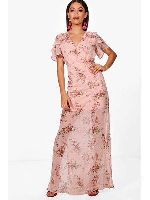 BOOHOO Boutiue Em Ditsy Floral Angel Sleeve Maxi Dress
