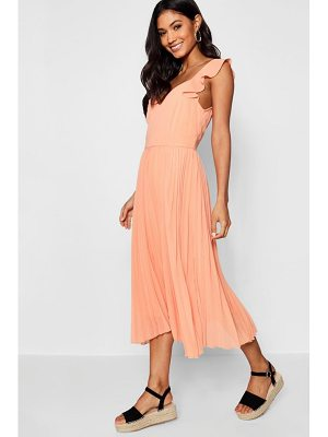 Boohoo Boutique Ruffle Pleated Midi Skater Dress