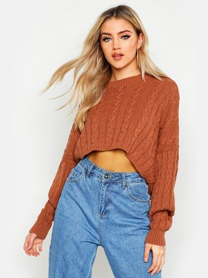 Boohoo Box Cropped Knitted Cable sweater