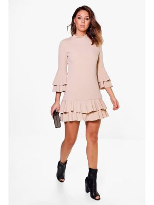 BOOHOO Bridget High Neck Double Frill Shift Dress