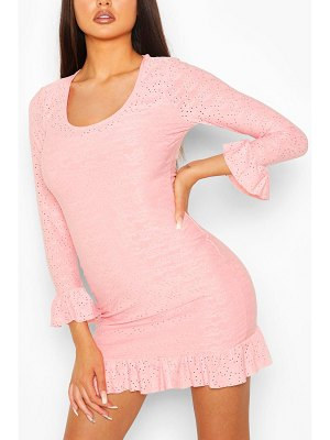 Boohoo Eyelet Scoop Neck Bodycon Dress