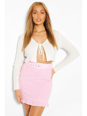 Boohoo Broderie Belted Mini Ruffle Hem Mini Skirt