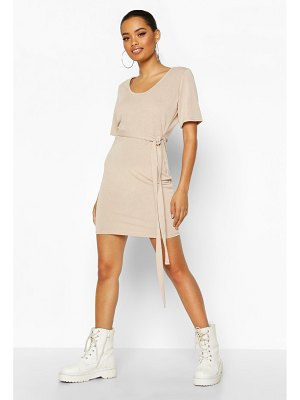 Boohoo Brushed Plunge Short Sleeve Mini Dress