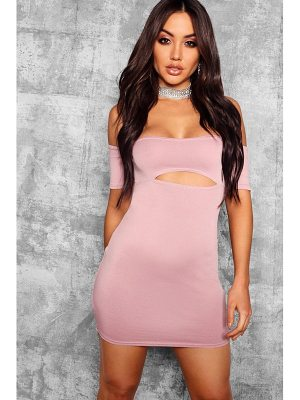 Boohoo Off The Shoulder Cut Out Detail Bodycon Dress