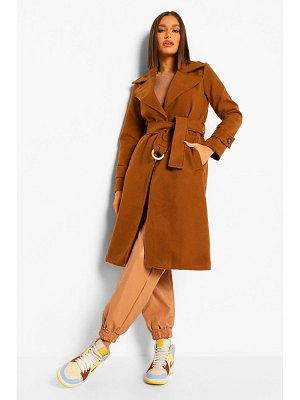 Boohoo Buckle Detail Belted Wool Look Coat