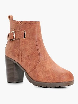 Boohoo Buckle Trim Cleated Heeled Boots