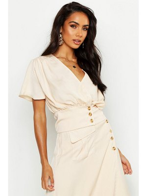 Boohoo Button Detail Flute Sleeve Top