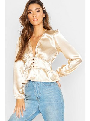 Boohoo Button Detail Frill Hem Satin Top