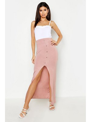 Boohoo Button Front Ankle Length Jersey Maxi Skirt