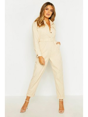 Boohoo Button Front Belted Boiler Suit