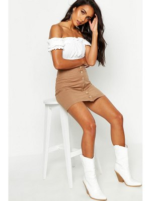 Boohoo Button Front Linen Look Mini Skirt