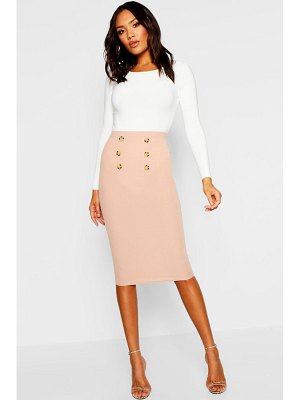 Boohoo Button Front Ribbed Midi Skirt