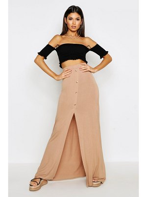 Boohoo Button Front Split Maxi Skirt