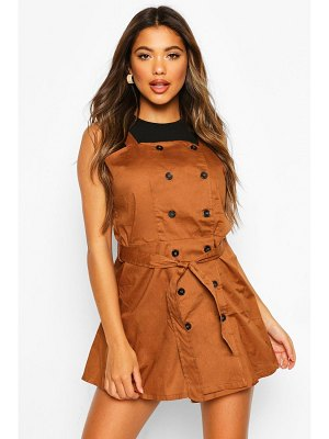 Boohoo Button Strappy Pinafore Dress